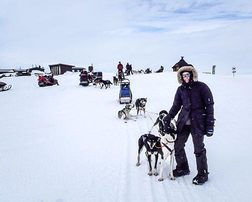 Arctic camping scene in snow