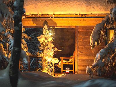 Beautiful snow scene with cabin