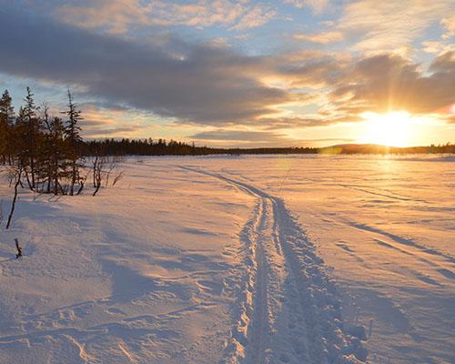 swedish lapland sunset scene in winter