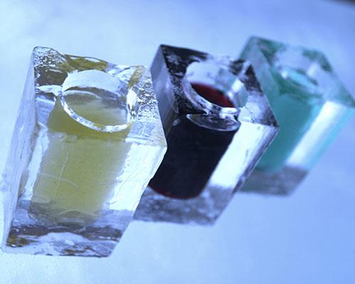 Ice Hotel ice shot glasses