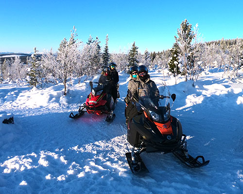 Lapland Sleddog Adventures people snowmobiling