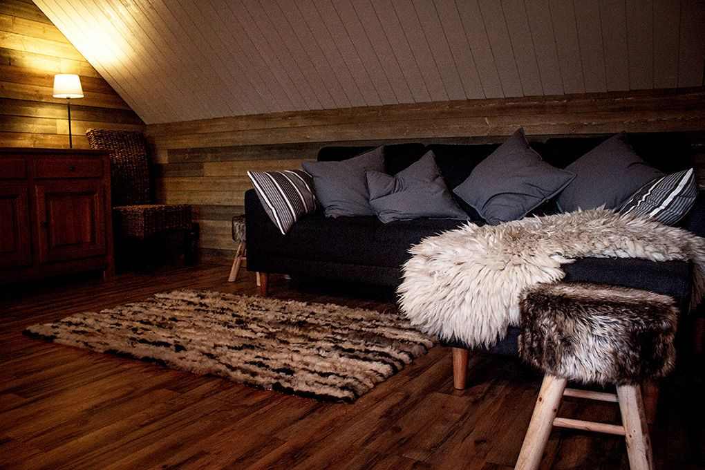 Lapland Sleddog Adventures Guest Lodge - Comfort and a little luxury view of the lounge